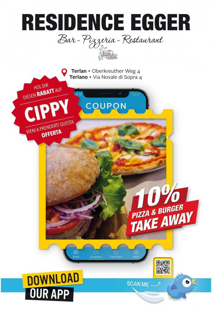 Angebot 10% auf Pizza & Burger take away bei :name