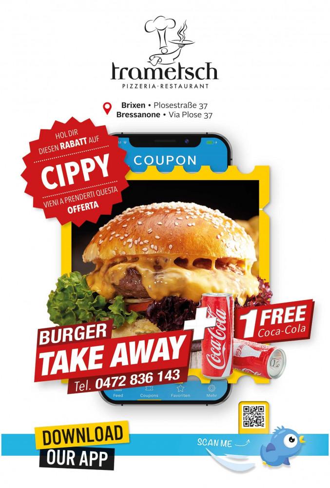 Angebot Burger Take Away + 1 Free Coca-Cola bei Pizzeria Trametsch