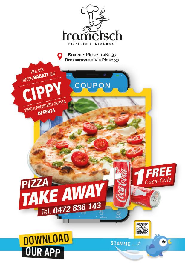 Angebot PIZZA take away + 1 Coca Cola gratis bei Pizzeria Trametsch